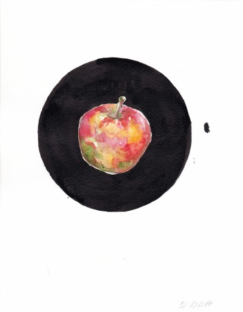 Inga Lineviciute - The Apple, Ink and watercolour on paper, 20.5 x 16 cm, 2017