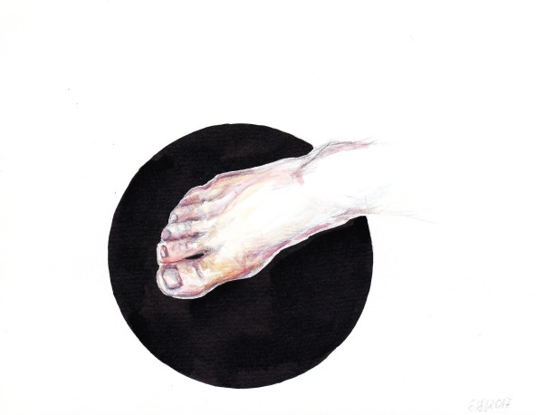 Inga Lineviciute - The Foot, Ink and watercolour on paper, 16 x 20.5 cm, 2017