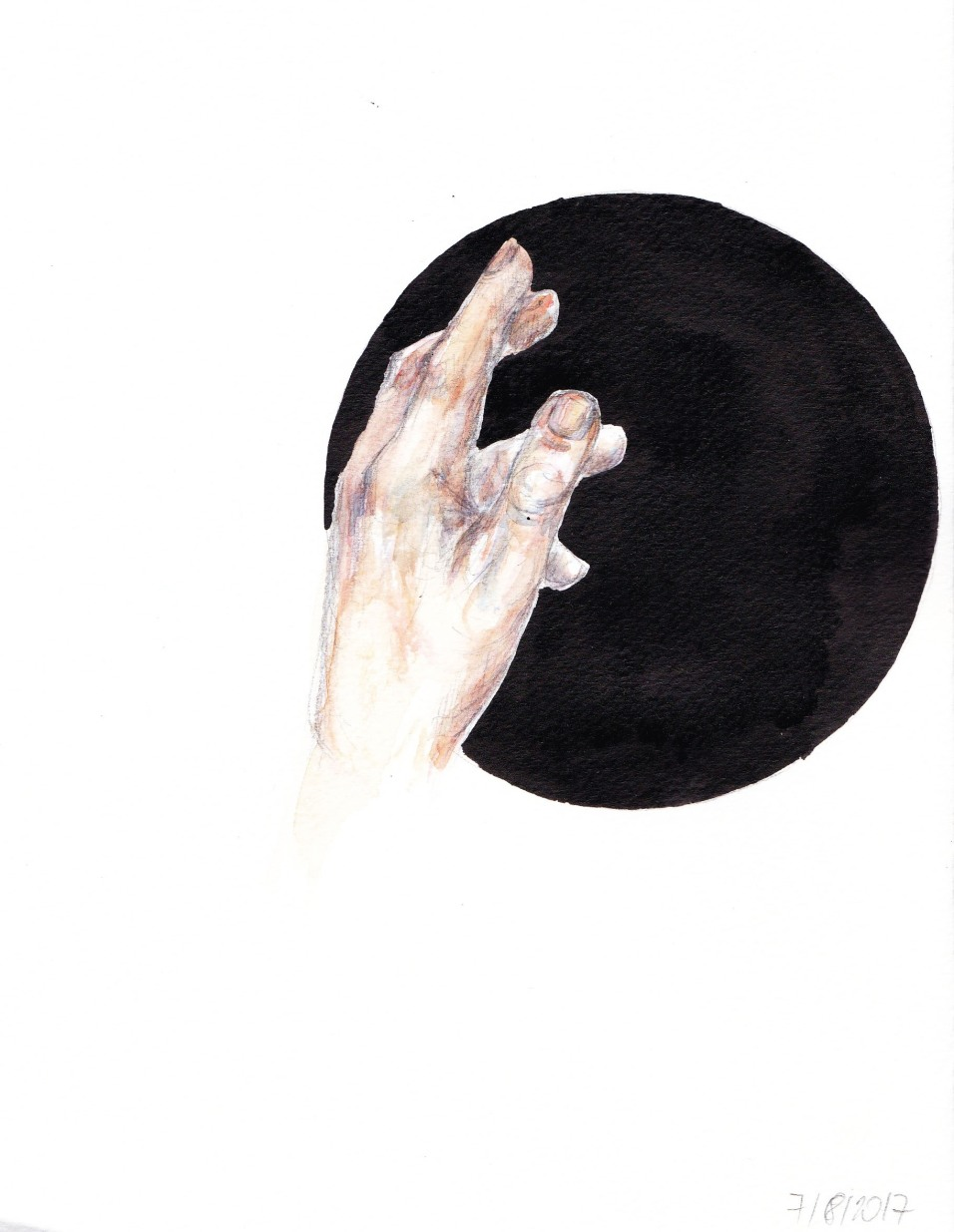 Inga Lineviciute - The Hand, Ink and watercolour on paper, 20.5 x 16 cm, 2017